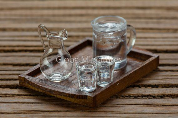 Dollhouse Miniatures Empty Glass Jar and Set of Plastic Jug of Iced Water with Pair of Glass on Dark Brown Wooden Serving Tray #plasticjugs