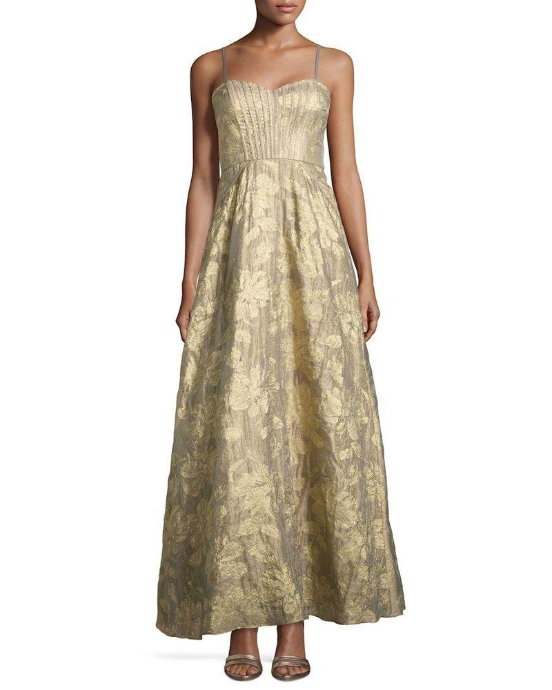 AIDAN MATTOX Mink Metallic Strapless Gown Sweetheart