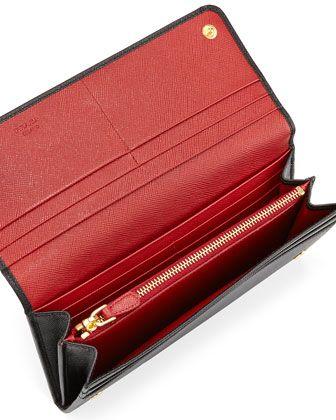 aedc2f1b80f6 Saffiano Bicolor Flap Wallet Black/Red (Nero+Fuoco) | A girl's list ...