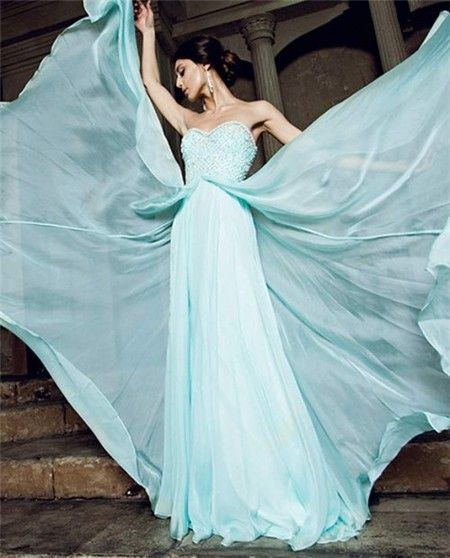 Flowing A Line Strapless Sweetheart Long Aqua Chiffon Beading Prom ...