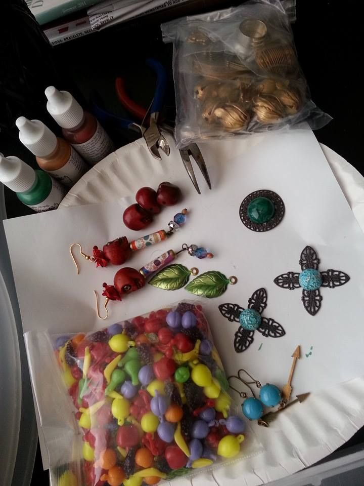 Renee Hong is getting ready to rock and roll with some new imaginative projects on her Work Table Wednesday table! In the foreground:  Carmen Miranda bead from B'sue Boutiques.  http://www.bsueboutiques.com/product-p/fruitbeads.htm