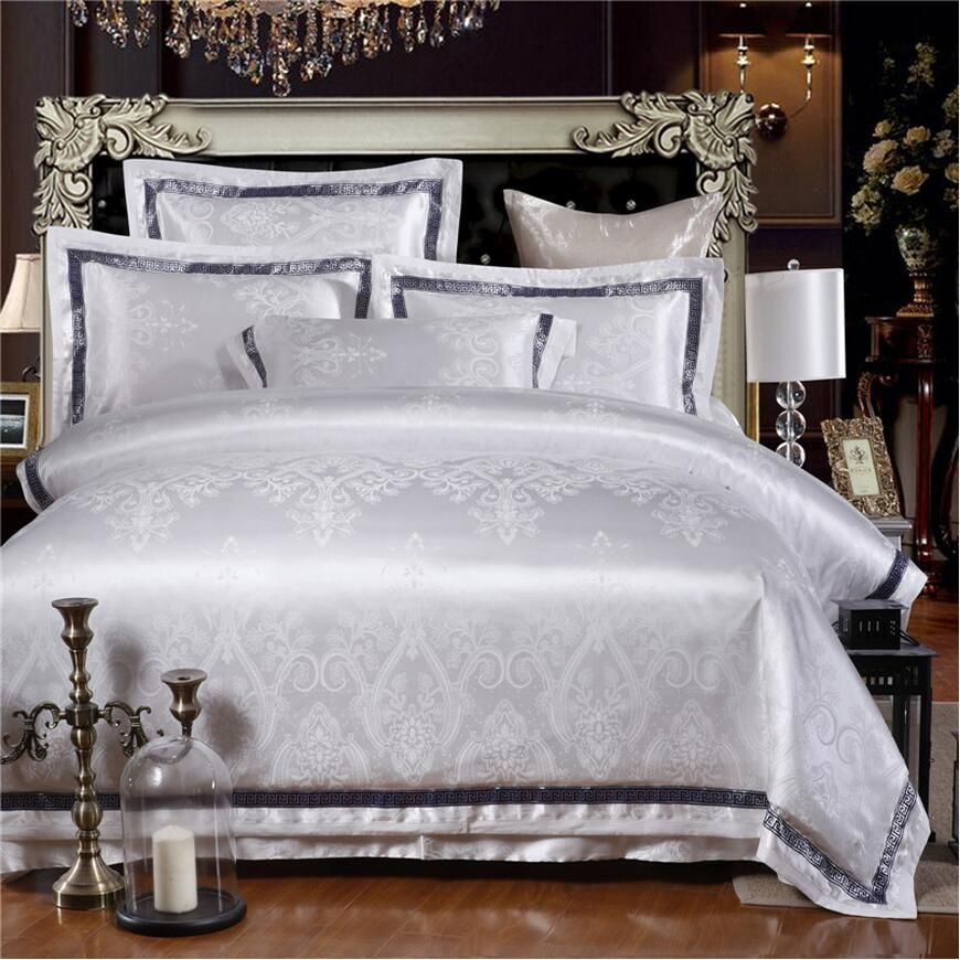 Interior Living White Jacquard Quilt Cover Set Queen Kin