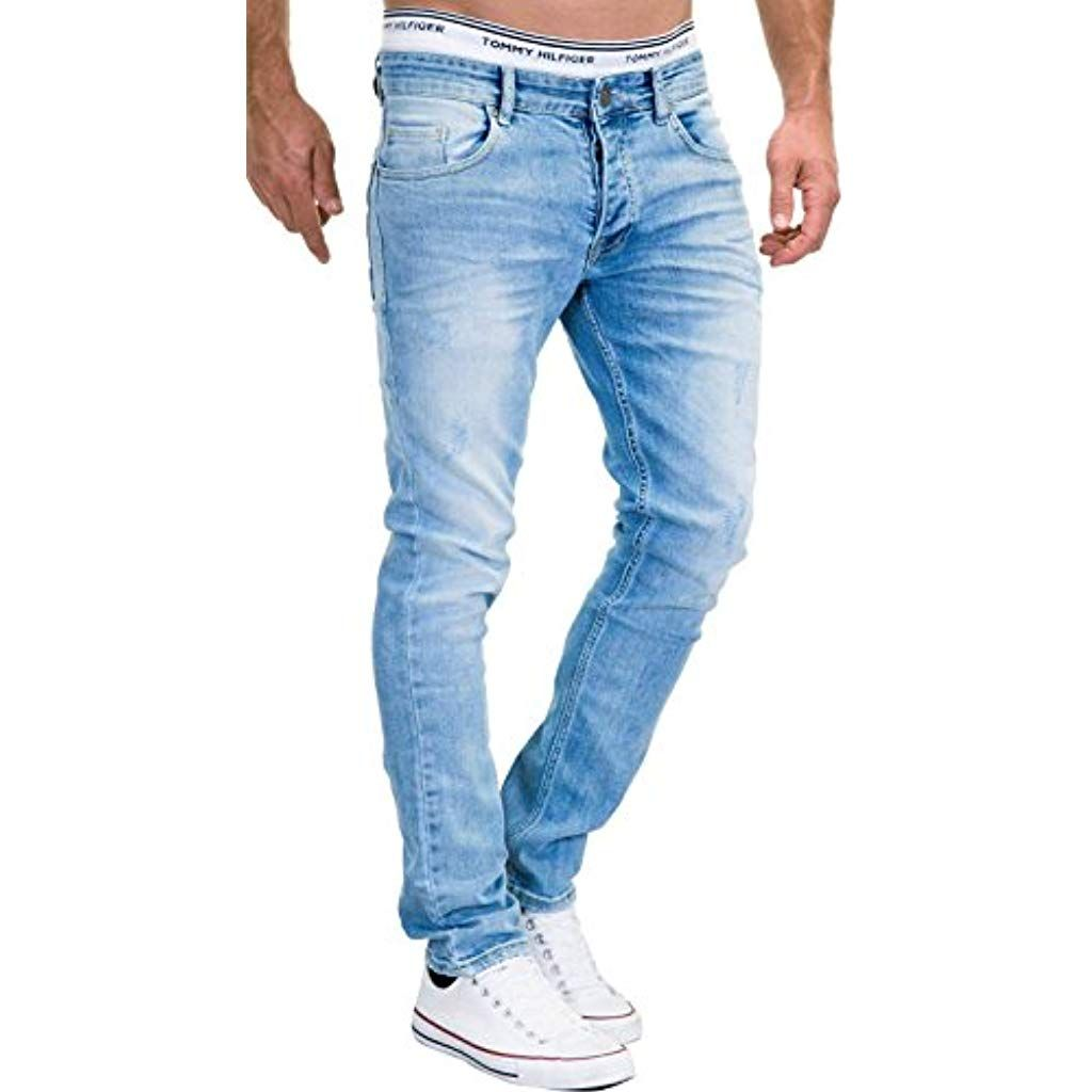 MERISH Jeans Herren Slim Fit Jeanshose Stretch Designer Hose