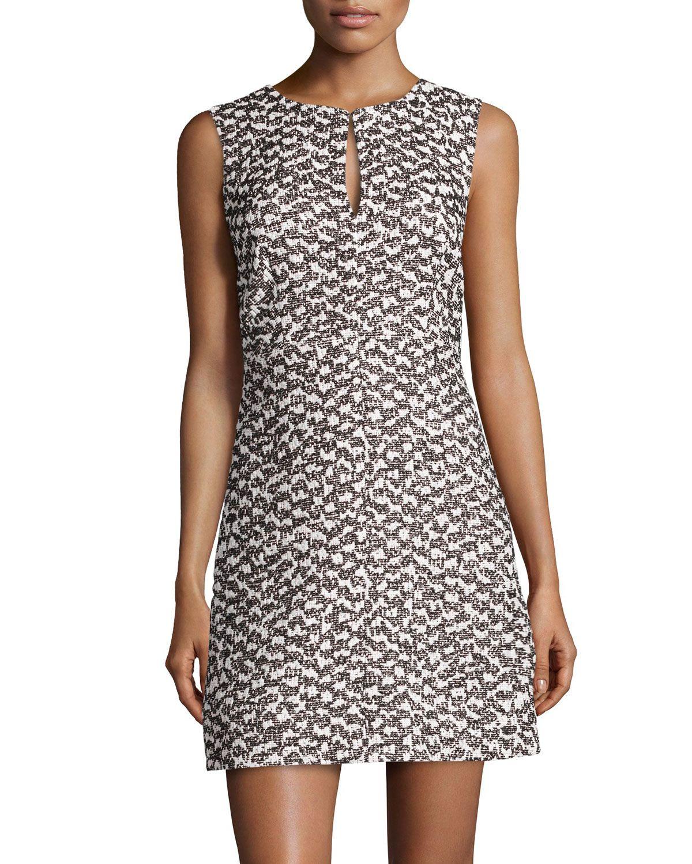 Diane von Furstenberg Yvette Tweed Sleeveless Dress, Women's, Size: 6, Black/White