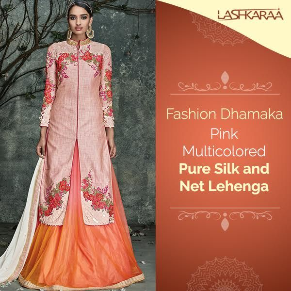 Pink Multicolored Pure Silk and Net Lehenga Features a pure silk long top and lehenga alongside a naznin dupatta. Embroidery work is done with zari and handwork embellishments.