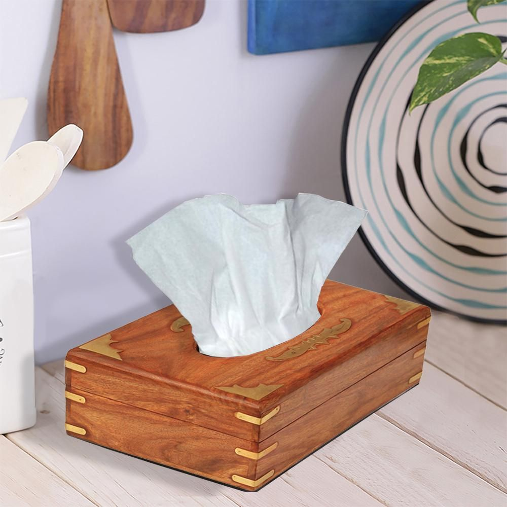 Benzara Handmade Wooden Brown Tissue Box Napkin Holder Bm174923 The Home Depot Handmade Wooden Tissue Box Covers Tissue Boxes