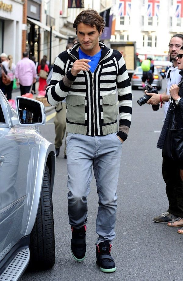 Roger Federer in Air Yeezy IIs in Black/Solar Red. Find this Pin and more  on Men à la Mode ...