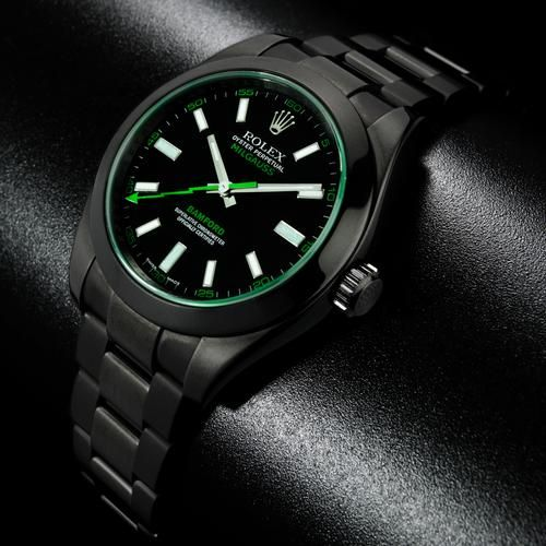 9744e911ad5 rolex milgauss green glass black pvd coated by bamford watch department