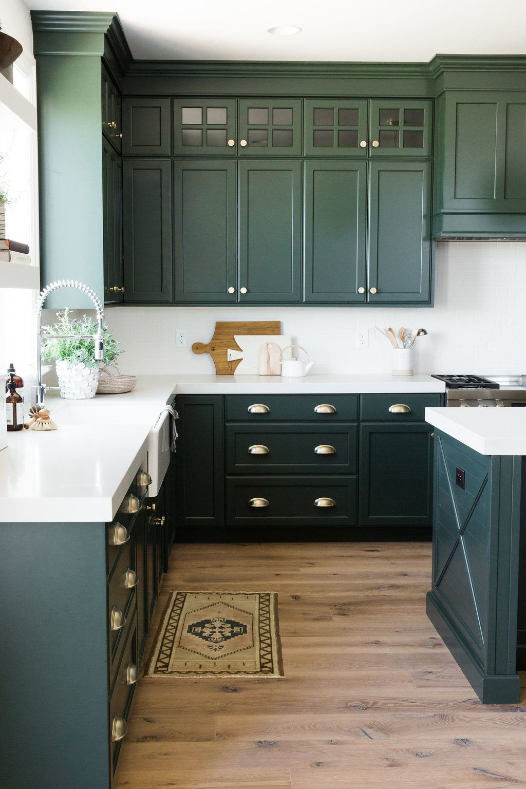 Why We Love Muted Vintage Rugs Kitchen Cabinet Design Green Kitchen Cabinets Dark Green Kitchen