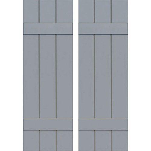 Unfinished 12W x 43H Ekena Millwork CWB12X043UNC Exterior Three Board Composite Wood Board-N-Batten Shutters with Installation Brackets Per Pair
