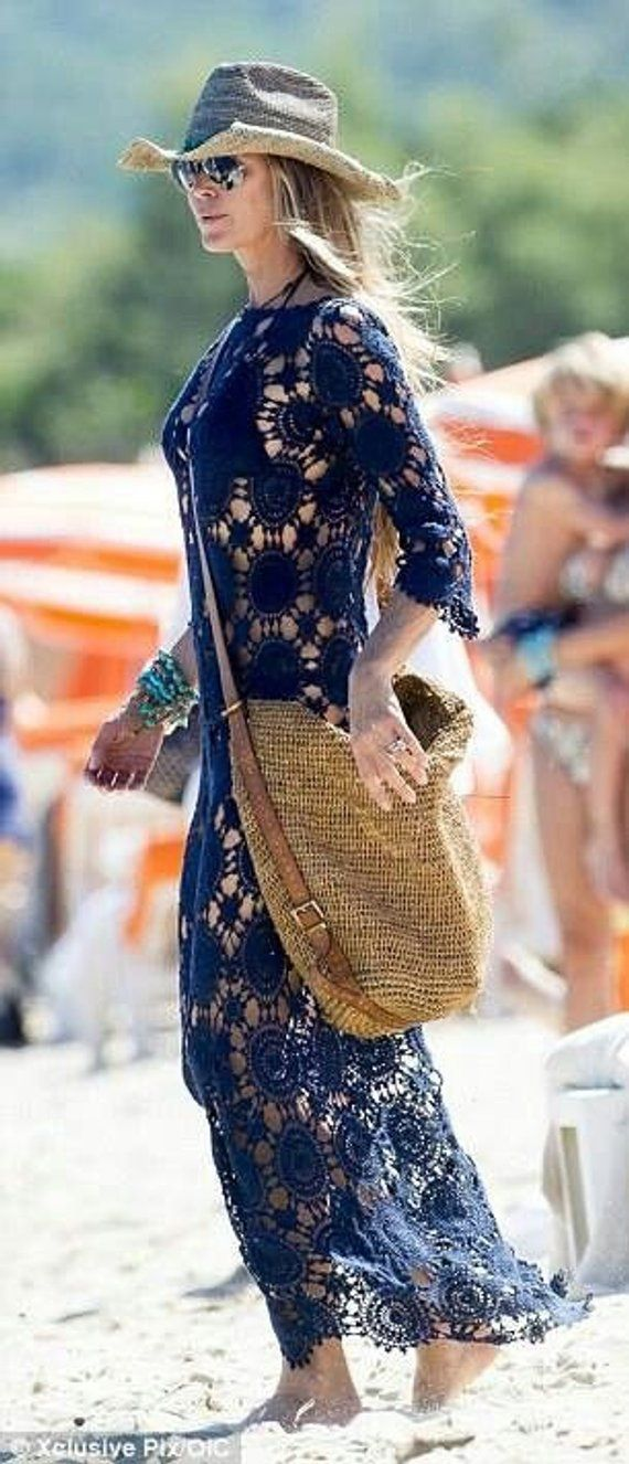 Maxi dress crochet celebrity exquisite lace bohemian summer beach goddess party ocassion