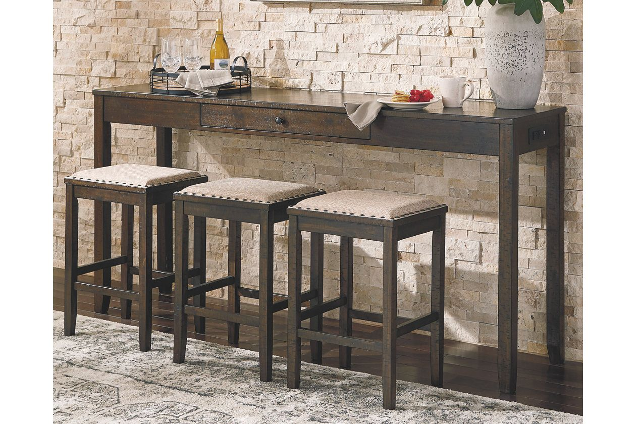 Rokane Counter Height Dining Room Table And Bar Stools Set