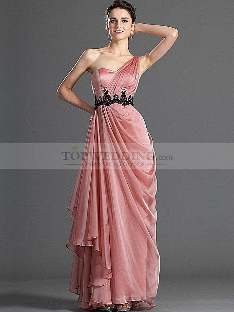 One Shoulder Chiffon over Elastic Satin Long Flowing Prom Dress with ...