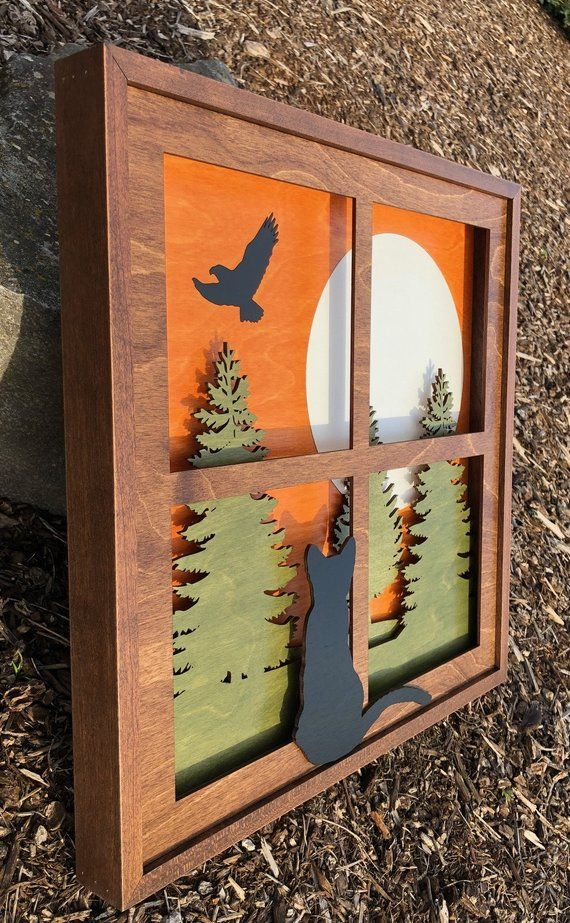 "3D Wood Shadow Box Handcrafted Scene Inlaid / Laser Cut Black Cat in Window /""Wistful Moments"" 16×16 / Forest Trees / Eagle / Moon"