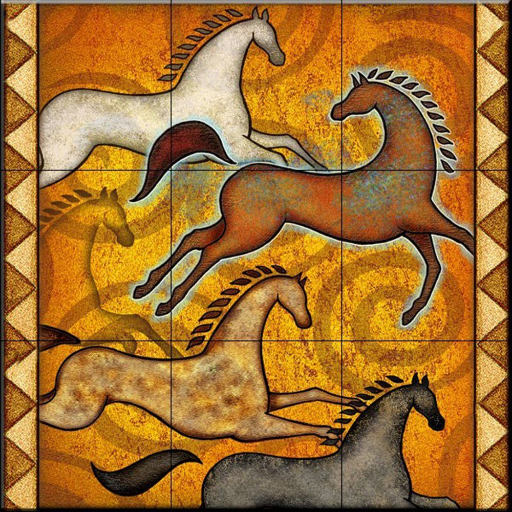 Southwest horse 6 by dan morris kitchen backsplash bathroom southwest horse 6 by dan morris kitchen backsplash bathroom wall tile mural ceramic dailygadgetfo Image collections