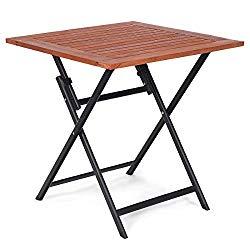 tangkula folding patio table wood