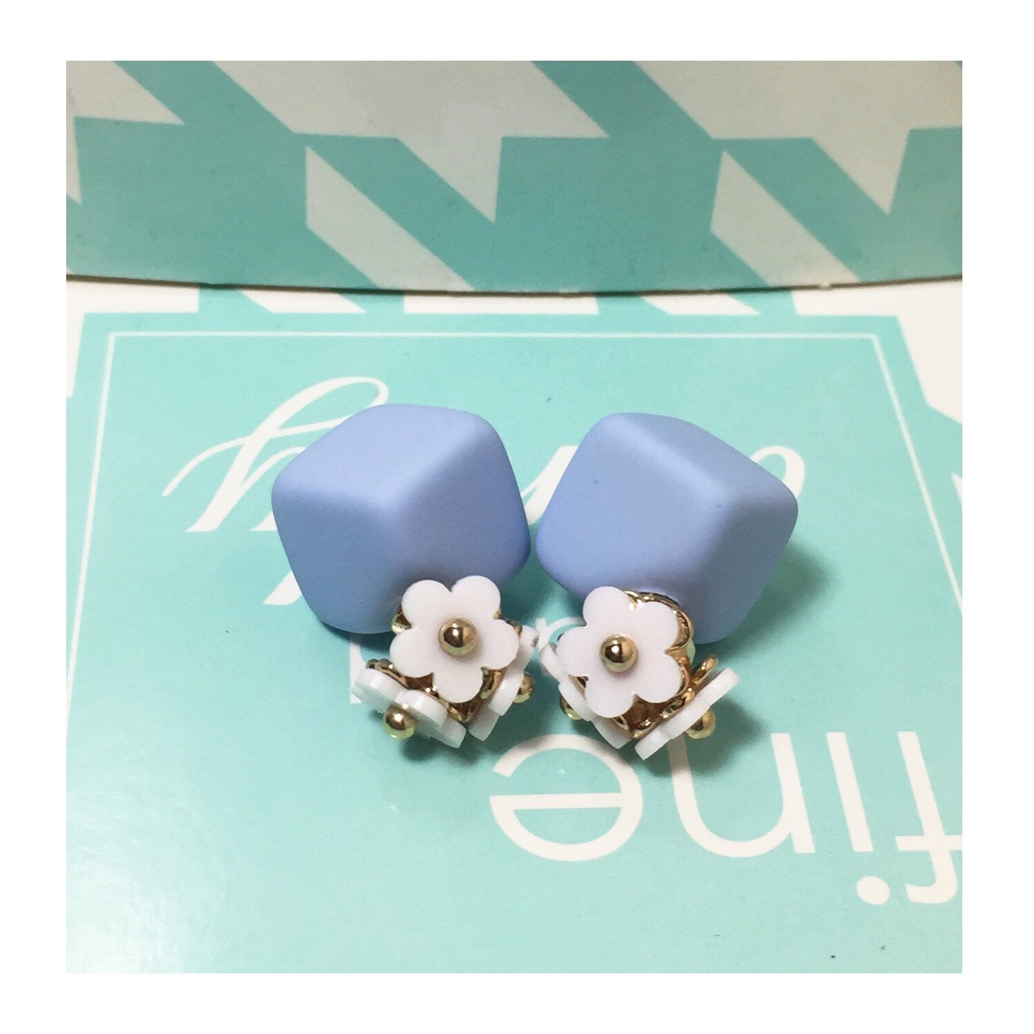 A personal favorite from my Etsy shop https://www.etsy.com/listing/400956869/square-earrings-flower-stud-earrings