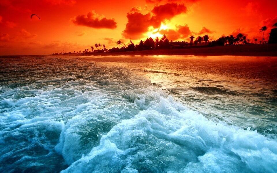 Beautiful Landscapes Photo Sky On Fire Beach Sunset Wallpaper Ocean Sunset Sunset Wallpaper