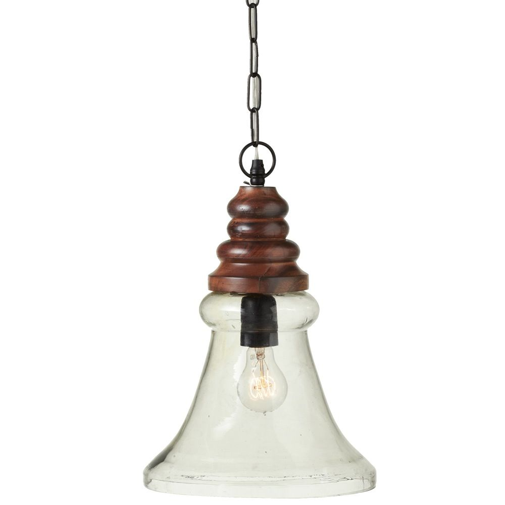 16 Clear Glass Bell Pendant With Wood Turned Top And Plug In Hard Wire Kit Lantern Pendant Drum Chandelier Light Bulb Wattage