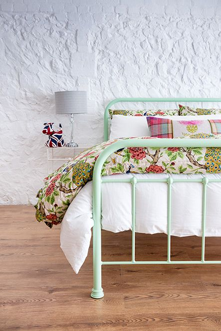 Oliver Double In Mint Green From The Wrought Iron And Brass Bed Co Brass Bed Iron Bed Frame Metal Beds