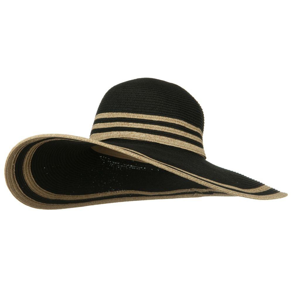 d3731cfe39d UPF 50 Two Tone Stripe Wide Brim Self Tie Hat- Black. Sun HatsTwo ...