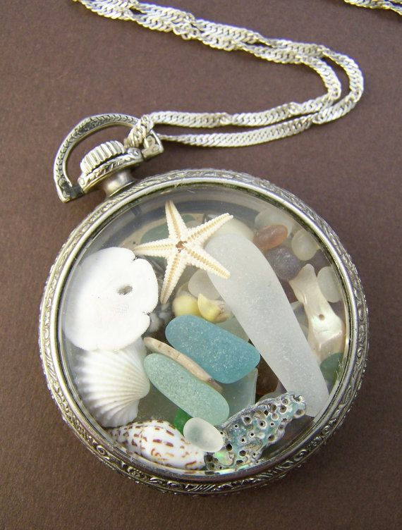 Neptune Sea Glass Locket Vintage Pocket by StoneStreetStudio