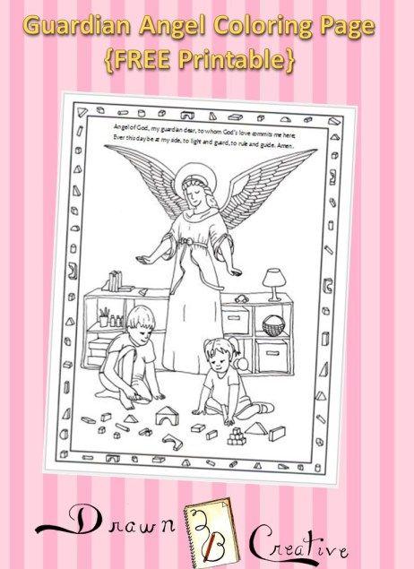 Familia Católica: Página para colorear del ángel de la guarda ...