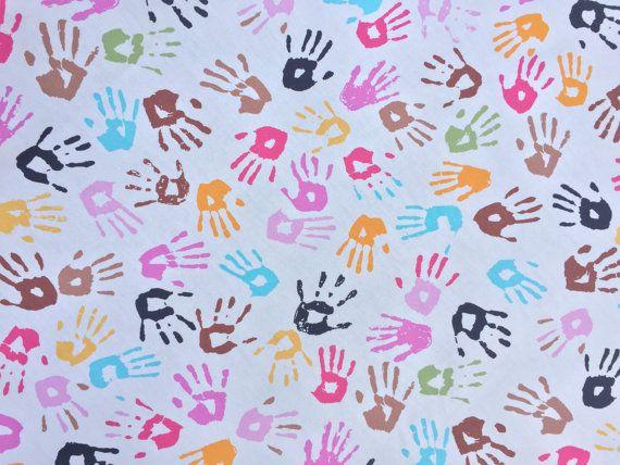 Kids Hands Print Cream Cotton Poplin Fabric Rose And Hubble Prints Uk Cushions