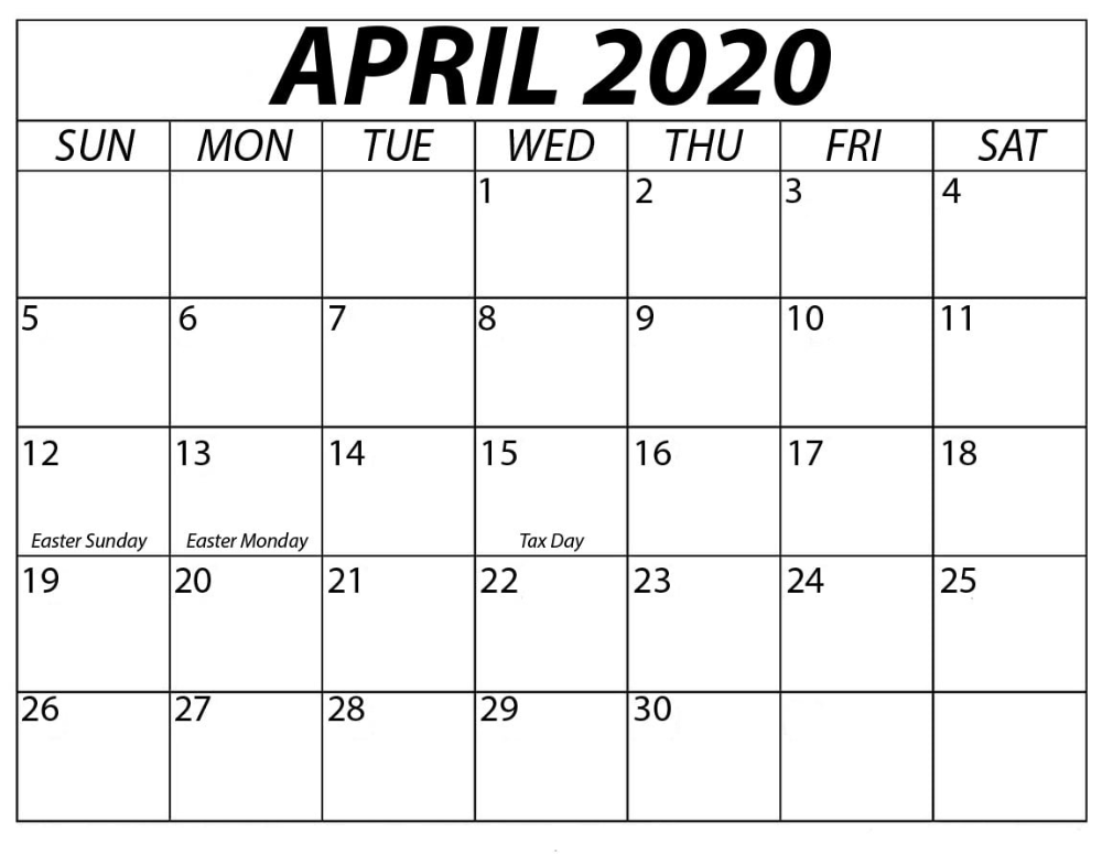 Free Printable April 2020 Calendar For American Easter Printable Cal In 2020 Free Printable Calendar Templates Printable Calendar Template Holiday Calendar Printable