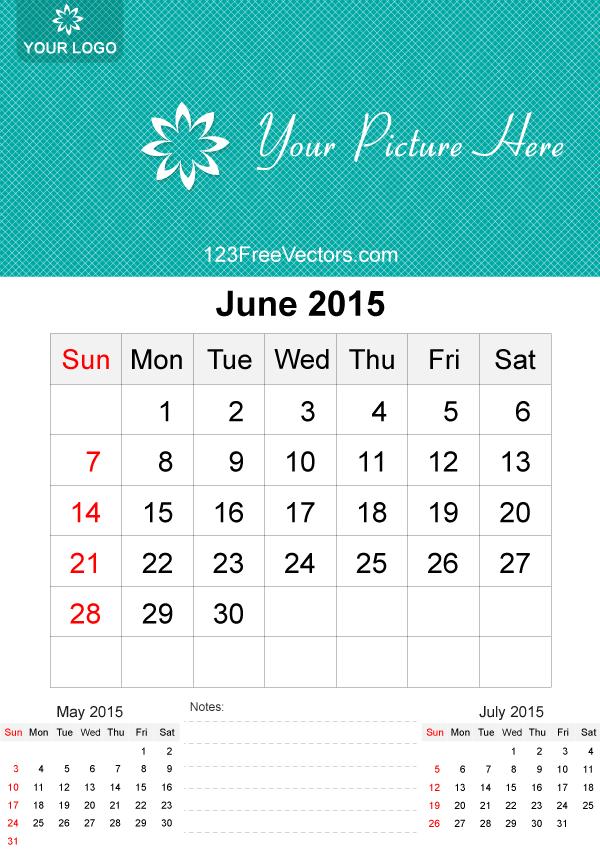 June 2015 Calendar Template Vector Free Free Vectors Pinterest
