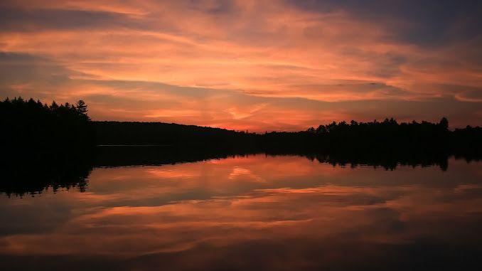 Sunset over Big Clam Lake
