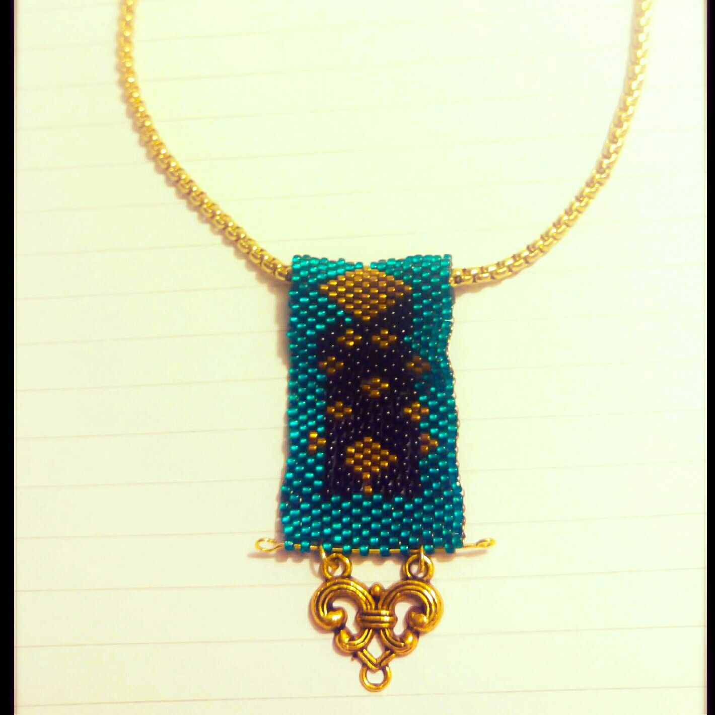 Design house jewelry - Emerald Gold And Black Bear Woven Necklace Design House Jewelry