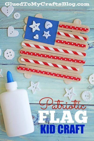 Paper Straw Popsicle Stick Patriotic Flag - Kid Craft #911craftsfortoddlers
