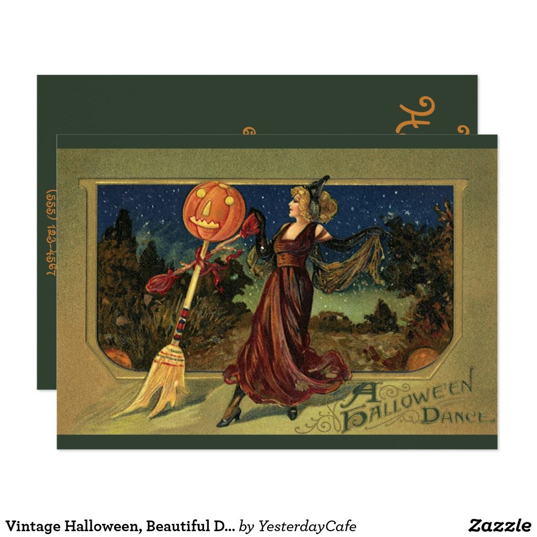 Vintage Halloween, Beautiful Dancing Witch Invitation