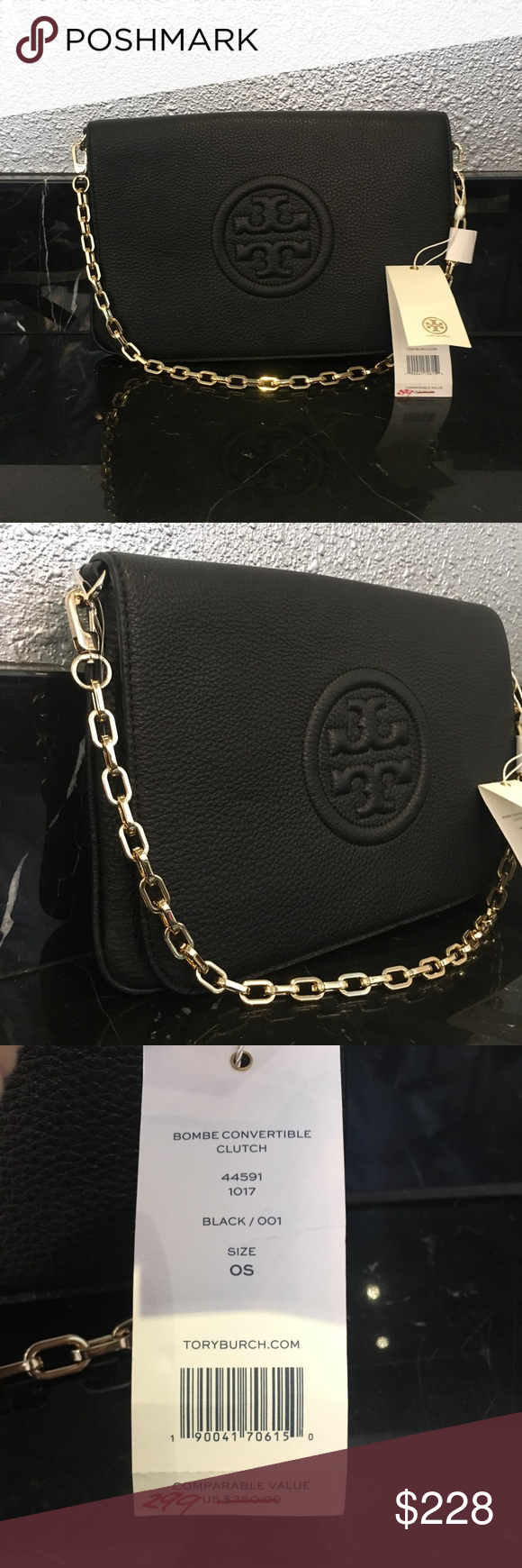 "5c9907040cf2 NEW Tory Burch ""Bombe Convertible Clutch"" Brand new in black leather! Tory  Burch"