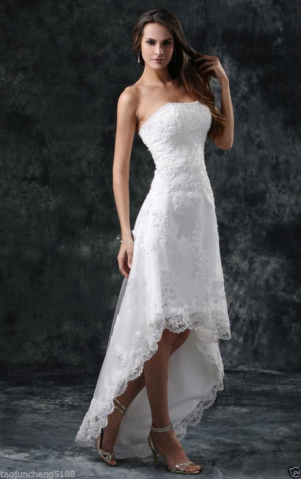 New Short Beach A Line Strapless Lace Tulle Wedding Dresses Summer