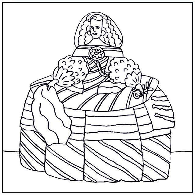 infanta margarita / velazquez | Láminas para colorear: Pequeños