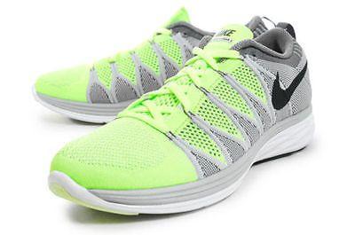 NEW Nike Flyknit Lunar 2 size Mens 10.5 620465 700 Volt/Blk-Wolf Grey-Drk Grey