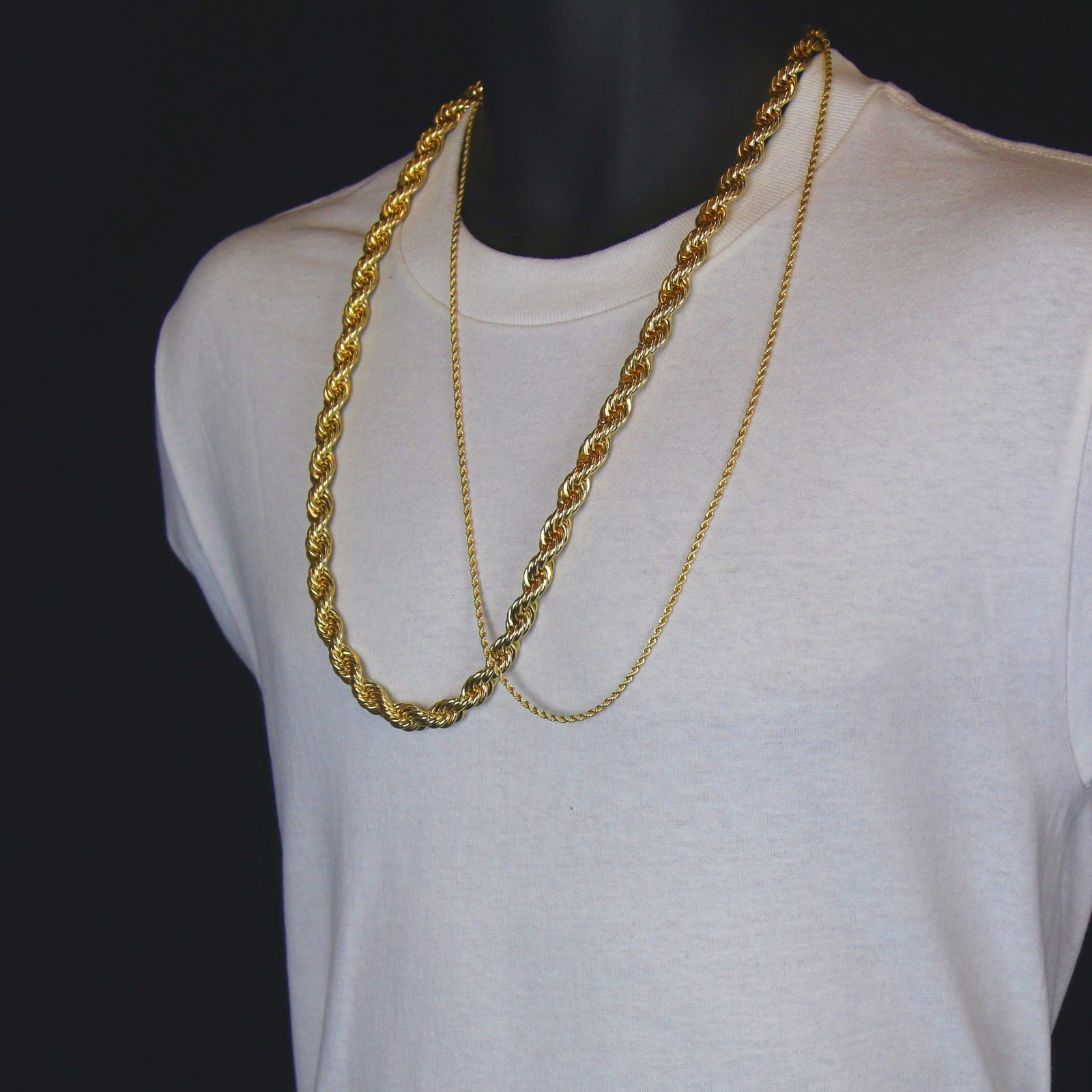 Men S 24k Gold Plated 10mm 2 5mm 30 Thick Rope Chain Hip Hop Style Set Rope Chain Hip Hop Fashion Chain