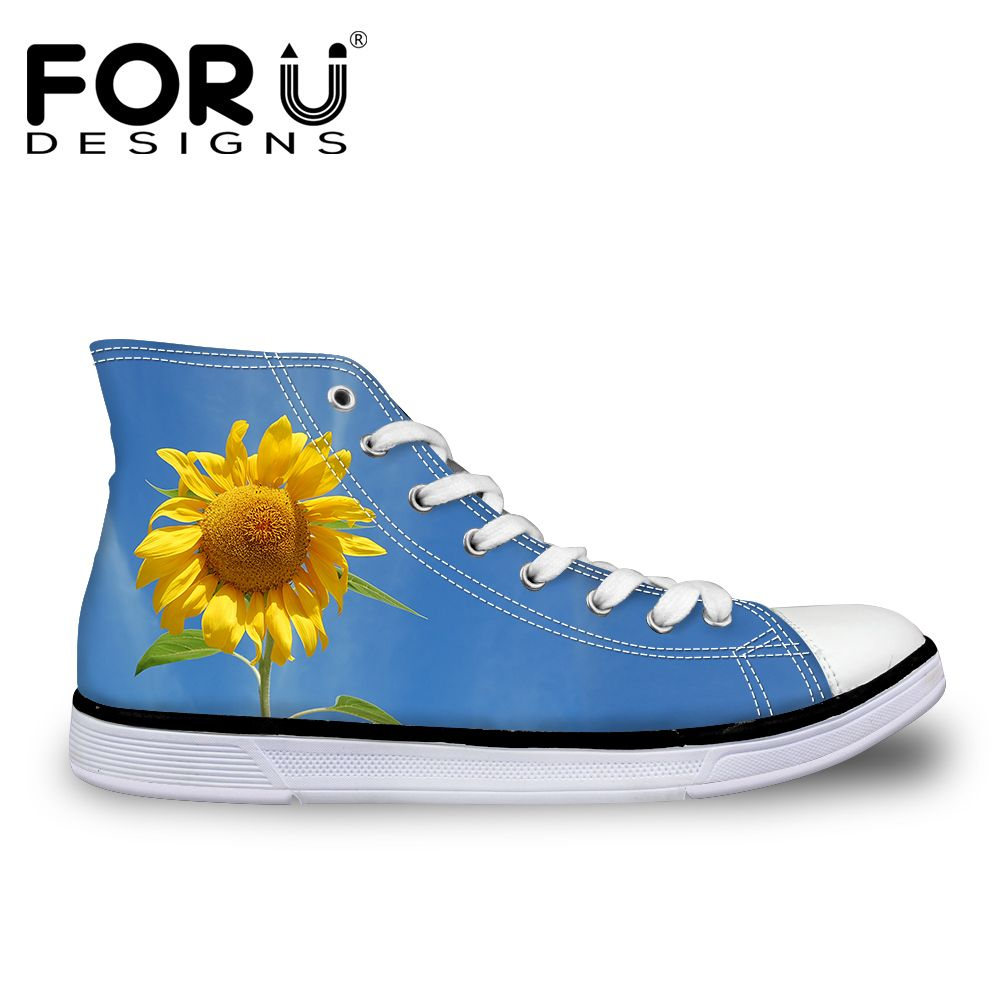 FORUDESIGNS Fashion Spring Floral Design Casual Vulcanized Shoes Woman High Top Lace-up Casual Canvas Shoes for Women Ladies