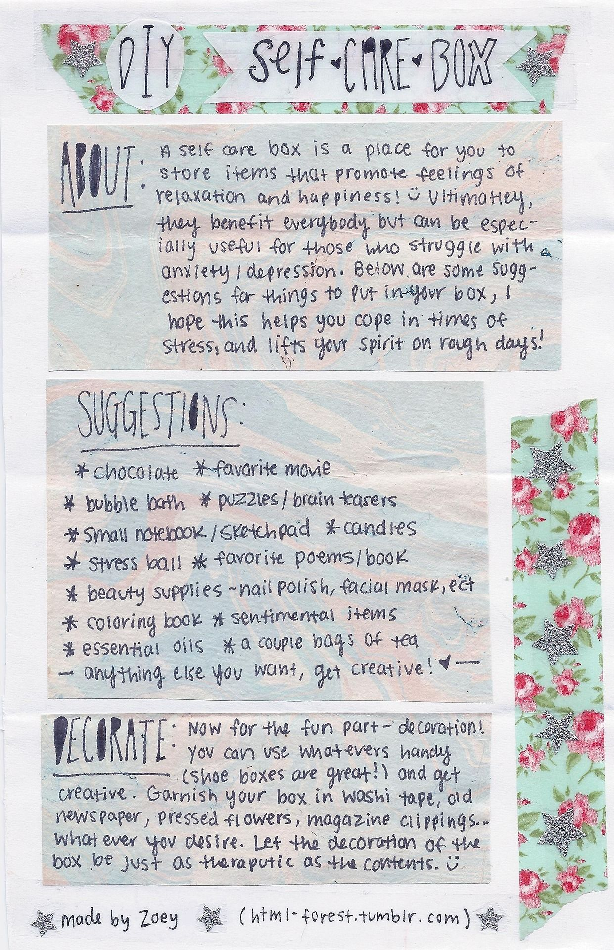 Self-Care Box (for anxiety/depression) | Les choses à faire ...