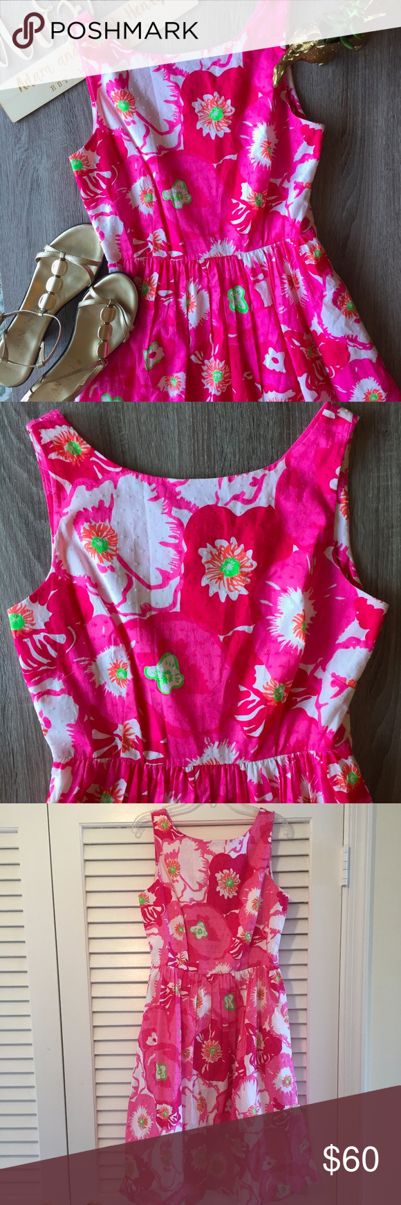 Lilly Pulitzer Pink Floral Dress - LIKE NEW Celebrate spring all year long in this adorable floral pink dress from Lilly Pulitzer!  This dress is like new, in near perfect condition.  I only wore it once and you wouldn't be able to tell.  The skirt of the dress flares out for a girly and flirty look.    - Size 6; Approx. 36 in. bust, 27 in. waist - Approx. 37 inch in length - 100% cotton Lilly Pulitzer Dresses