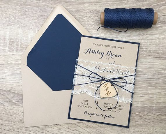 Navy blue wedding invitation, lace wedding invitation, rustic wedding invitation, wooden heart wedding invitation,shabby chic invitation