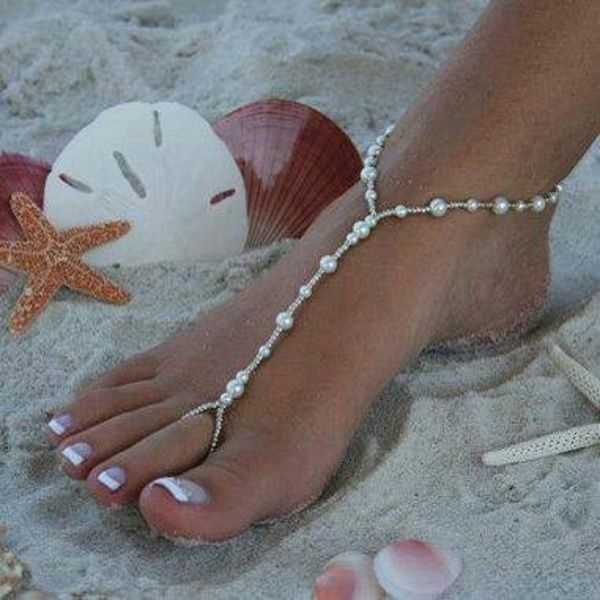 Barefoot Sandals Stretch Anklet Chain with Toe Ring foot jewelry! #Handmade