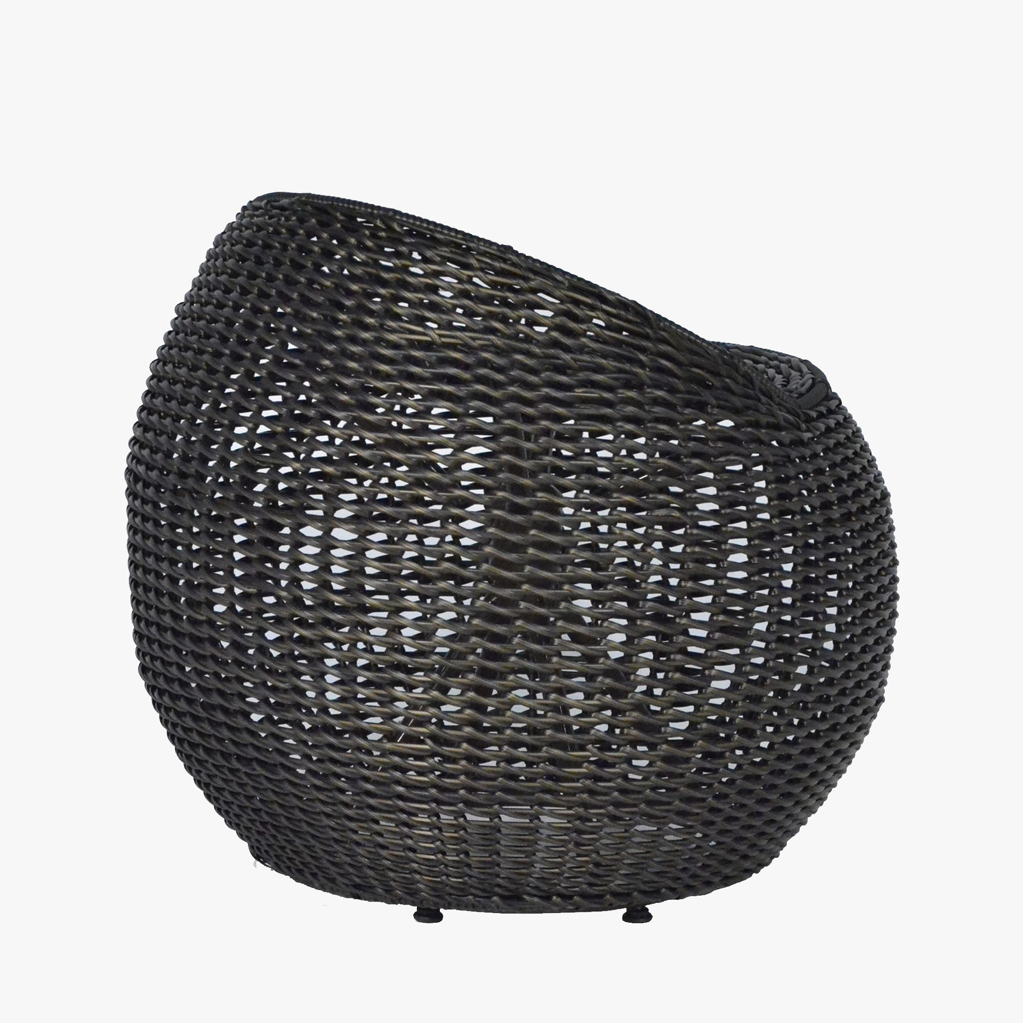 Our black outdoor open weave wicker swivel stool from Palecek exudes casual comfort. This chic all-weather stool is perfect for casual outdoor living.
