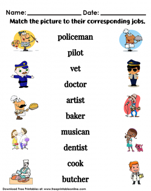 Job Title Worksheet | Free Printable Worksheets | Kids ...