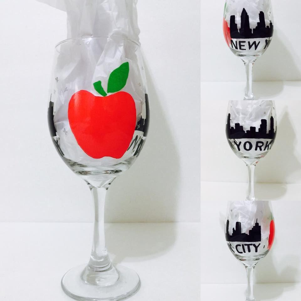 New York City Big Apple Big Apple Glass Wine Glass
