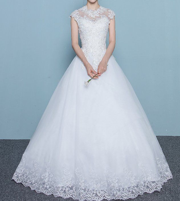 Bridal wedding gown lace flower embroidery white dress tulle ...