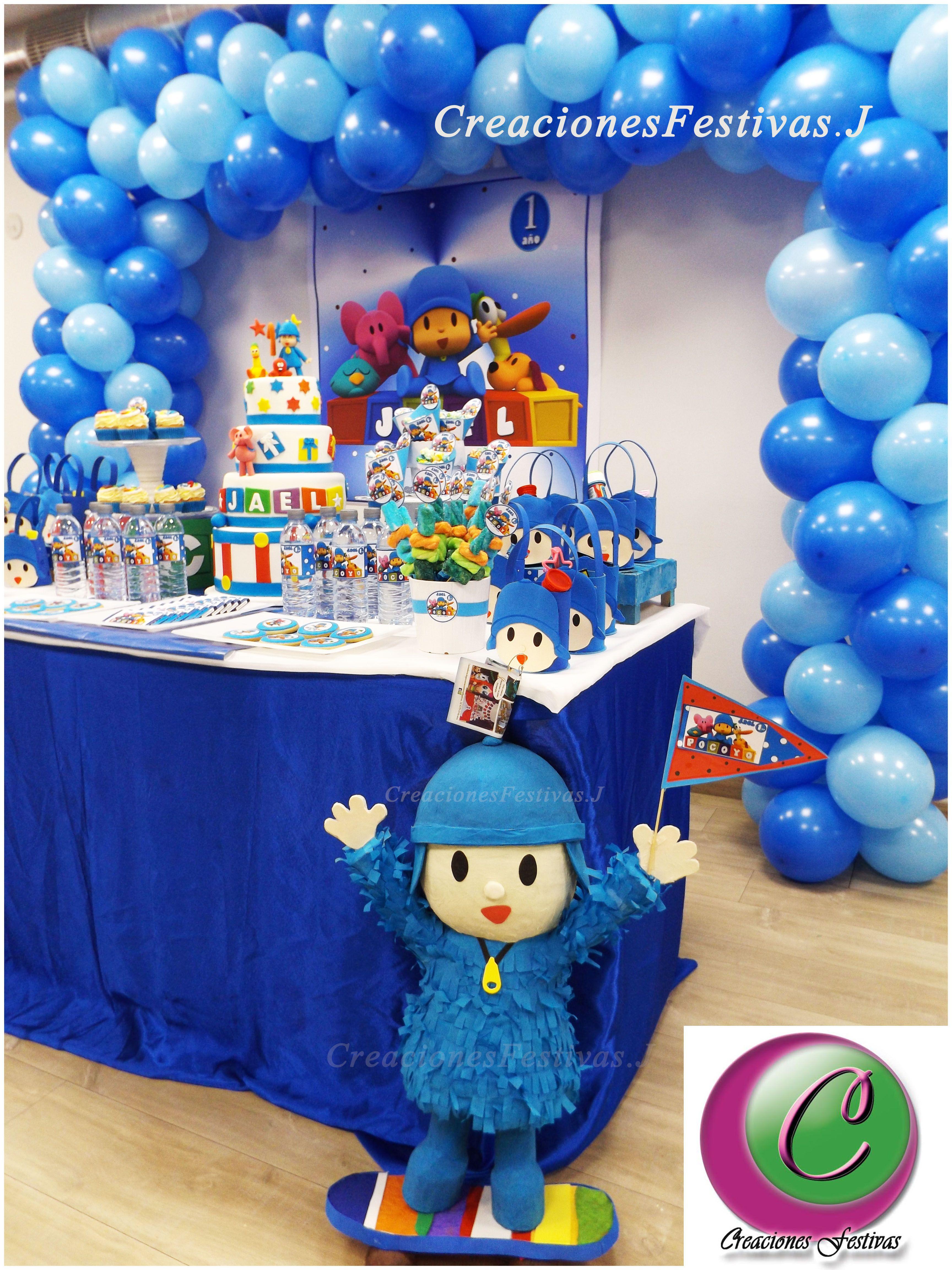 Decoraci n con arco de globos de pocoyo candy buffet - Decoracion mesa cumpleanos ...