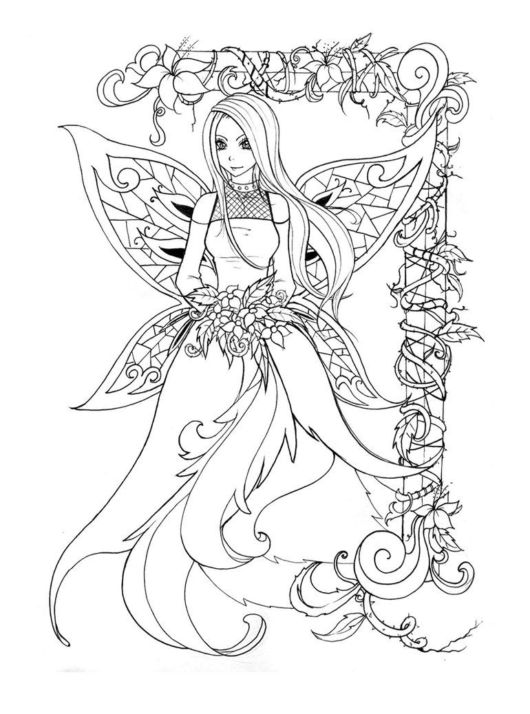 Lineart - Fairy pic by back2life on DeviantArt | mandalas ...